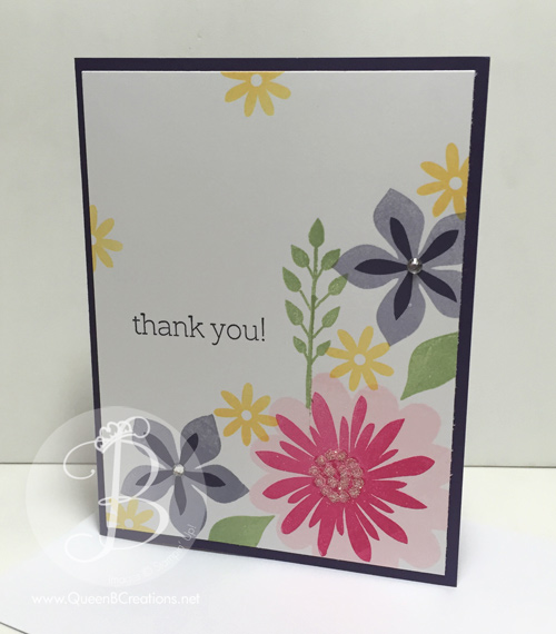 Thank You card made with Stampinn' Up! Flower Patch stamp set plus glitter and rhinestones