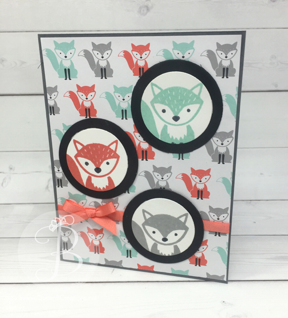 ppa306 Stampin' Up! Foxy Friends stamp set and A Little Foxy DSP Spotlight Technique by Queen B Creations