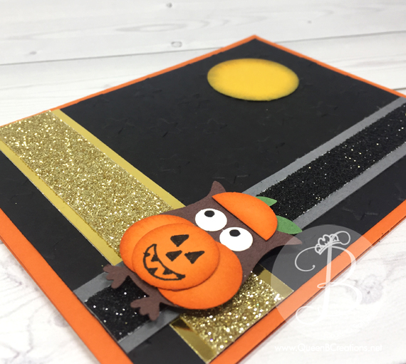 Stampin' Up! punch art owl in a pumpkin costume Halloween card
