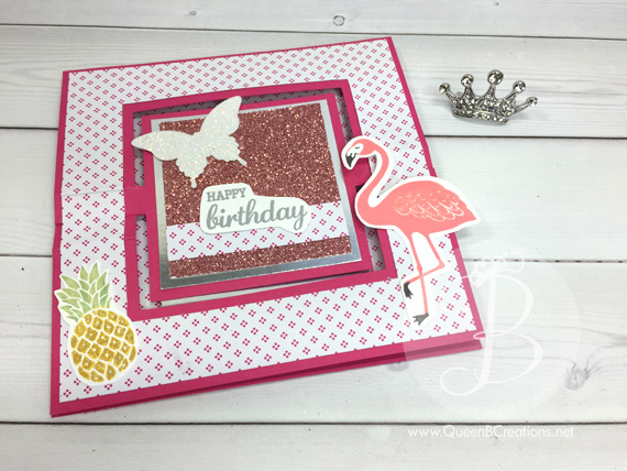 Swing Easel Card that Sparkles and Shines uisng Pop of Paradise, Best Bird & Garden in Bloom stamp set by Queen B Creations
