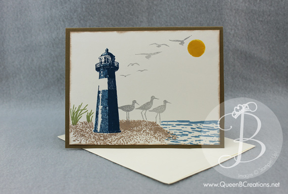 Handmade card made using Stampin Up! High Tide stamp set. Beach lighthouse birthday card by Queen B Creations