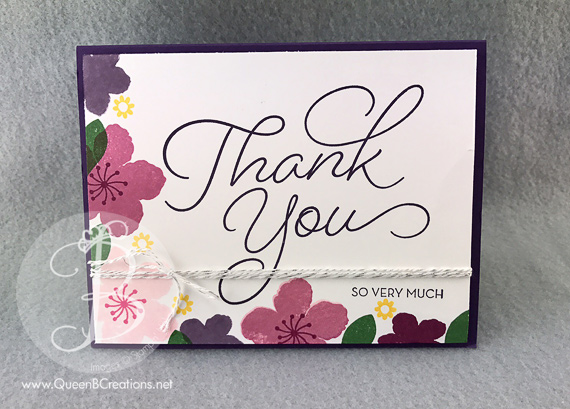 Stampin' Up! Botanical Blooms & So Very Much stamp sets Hand stamped Thank You card by Queen B Creations sale a bration 2017